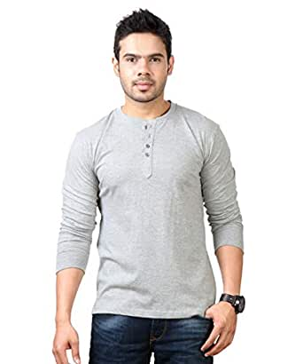 Rodid Solid Men'S Henley Full Sleeve Small Size Grey Melange Pullover