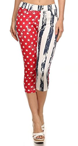 yisqzjzj Fascinating Women's Basic Solid Color Cotton Blend Capri Jeggings American Flag2X (70s Womens Hairstyles)