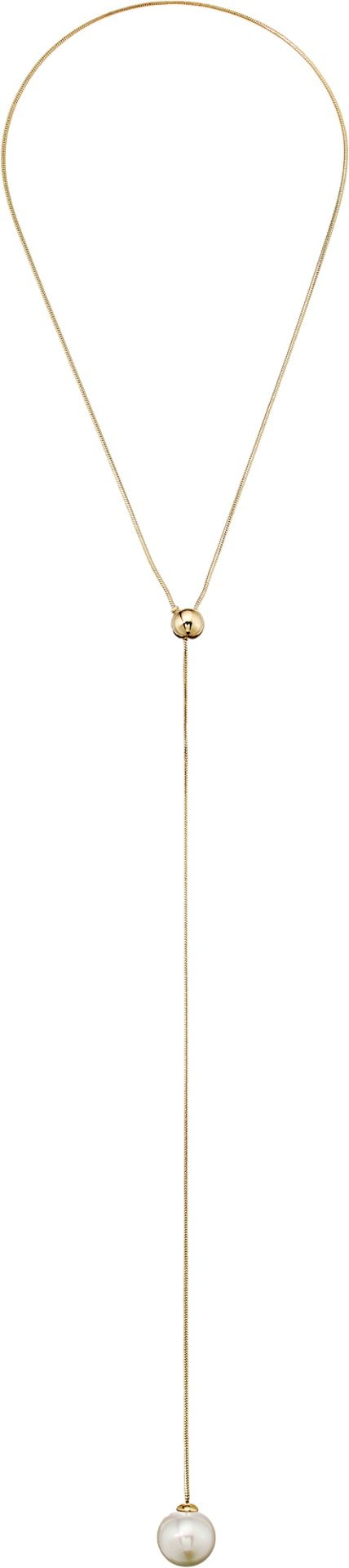Majorica 16mm White Round Pearl On A Gold Plated Steel Y-Shaped Necklace, 27''