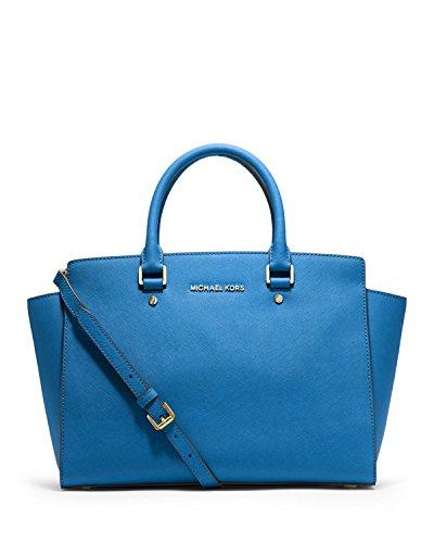 Michael Kors Handbag Selma Large Top Zip East West Satchel (Heritge Blue) (East West Slip Satchel)