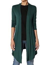 TheMogan Women's Basic Plain Long Sleeve Cardigan Drape
