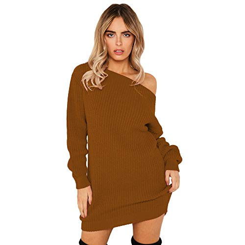 239259809 Womens Knitted Long Sleeves KIKOY Sexy Cold Shoulder Evening Party Mini  Dress