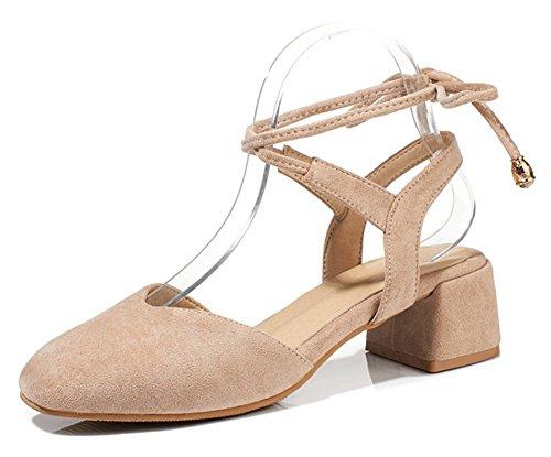 Aisun Womens Square Closed Toe Strappy Dressy Block Medium Heel Self Tie Ankle Wrap Sandals Shoes Apricot CI1JSb