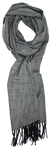 (Ted and Jack - Timeless Cashmere Feel Herringbone Pattern Scarf in Charcoal Grey with Black)