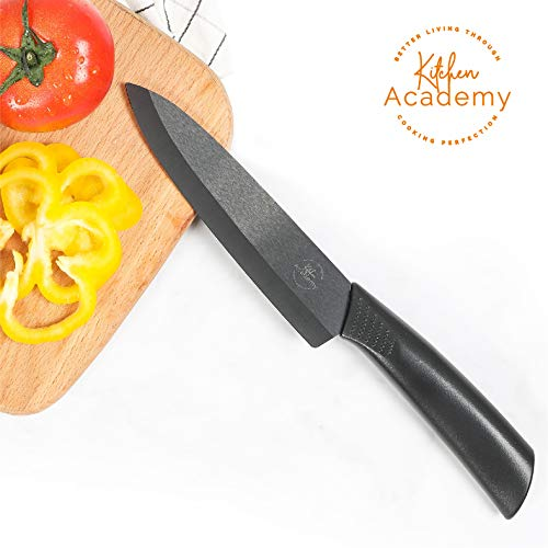 - Kitchen Academy Ceramic Knife 6-Inch Kitchen Chef's Knife Professional Fruit Paring Knives, Sharp and Rust Proof (Black)