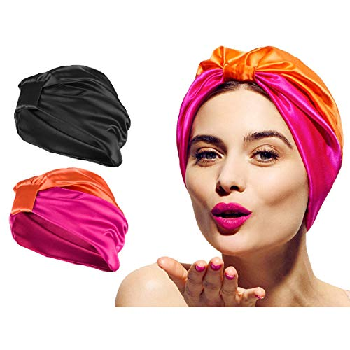 2 Pack Stain Silk Bonnet Sleeping Cap Set- Black Turban Elastic Wide Band Satin Bonnet+ Rosy Orange Knotted Hair Loss Cap Night Sleep Hat Head Cover for Curly Natural Long Hair for Women Girl Ladies