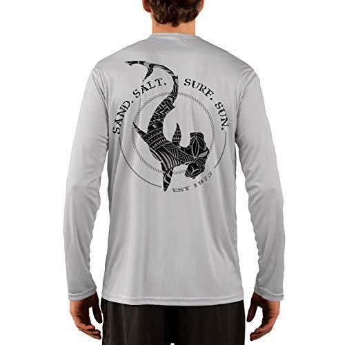 - SAND.SALT.SURF.SUN. Polynesian Hammerhead Tribal Men's UPF 50+ Long Sleeve T-Shirt Large Pearl Grey