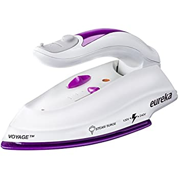 Eureka Voyage Compact and Durable Travel Iron with Nano Ceramic Non-Stick Shield, Steam Blast Dual Voltage 120-240V