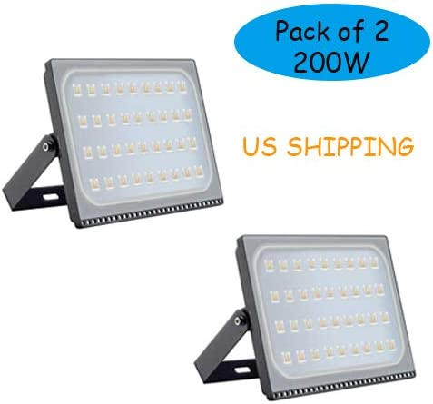 Younar Part of 2 200W Ultra Thin Outdoor LED Flood Light, 20000lm Super Bright Security Lights, 3000K Warm White, 110 V Waterproof led Spotlight for Lawn, Playground, Yard, Garden, Party