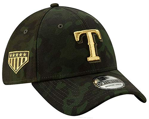 New Era 2019 MLB Texas Rangers Hat Cap Armed Forces Day 39Thirty 3930 (M/L) Green/Gold