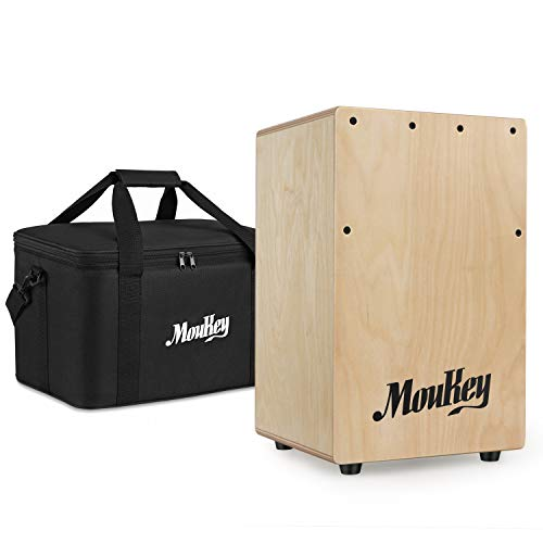 Moukey Kids Cajon DCD-1K Wooden Small Mini Cajon Drum Box with Bag, Birchwood Percussion String ()