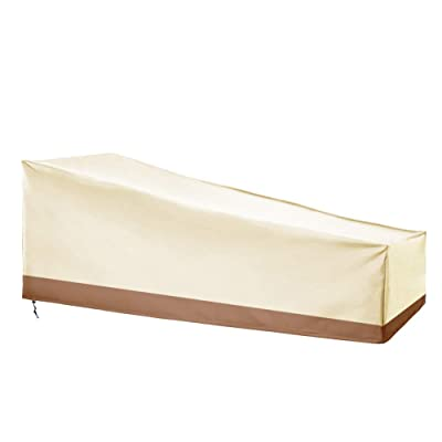 Patio Chaise Lounge Cover, 78' Long Lounge Chair Dust Cover, Heavy Duty Chaise Cloth Cover, Large Patio Chair Covers, Weather Resistant, One Year Quality Warranty, and Big Size (Khaki&Coffee) : Garden & Outdoor