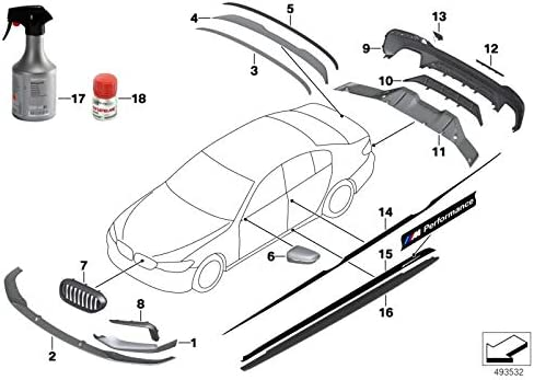 BMW Genuine M Performance Front Bumper Grille Finish Molding Right 51118064980