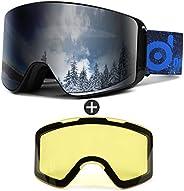Odoland Ski Goggles Set with Detachable Lens, Frameless Interchangeable Lens, UV Protection Snow Goggles for M