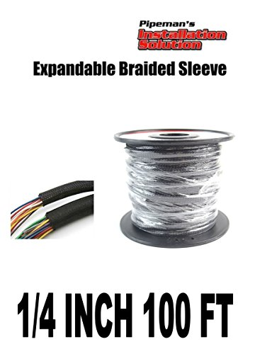 BLACK 1/4 100FT BRAIDED EXPANDABLE FLEX SLEEVE WIRING HARNESS LOOM WIRE COVER - Wiring Harness Loom