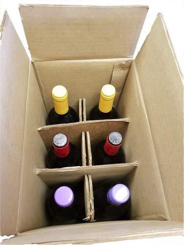 Caja de almacenamiento para botellas de vino y cerveza, 6 unidades, con separadores para el cuello, doble pared, caja de correo – Paquete de 10 cajas: Amazon.es: Industria, empresas y ciencia