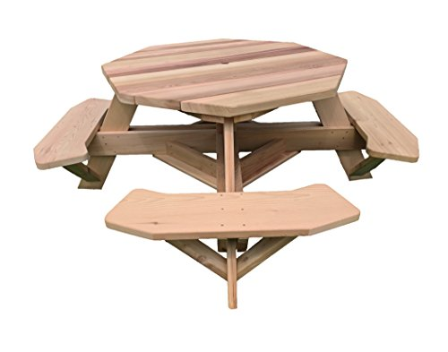 Western Red Cedar 49″ Octagon Top Picnic Table w/Easy Seating