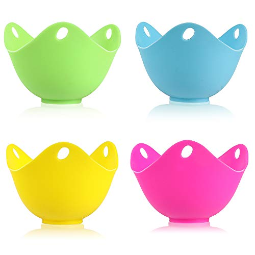 KMEIVOL Egg Poacher, Perfect Poached Egg Maker, Non-Stick Poached Eggs Cups, Microwave Egg Poacher, BPA Free Silicone Egg Poacher Cups, Set of 4,  Blue, Green, Yellow, Rose Red