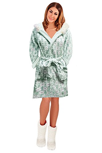 loungeable da donna, elegante pile Super morbido VESTAGLIA Mint/White Hooded