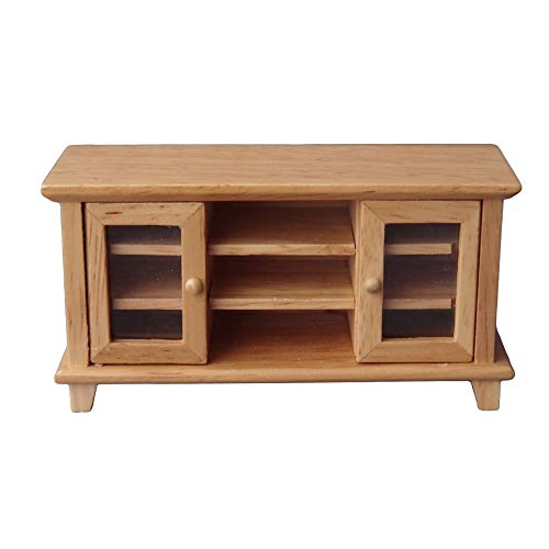 Fenfangxilas Miniature Furniture Toy, 1/12 Exquisite Wooden TV Cabinet Model, Non-Toxic Living Room Furniture Accessories Wooden Color Bath Cabinet Dining Furniture