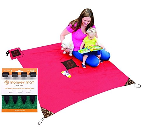 Monkey Mat ~ A clean surface you can take everywhere! (Coral Crush with Stakes)