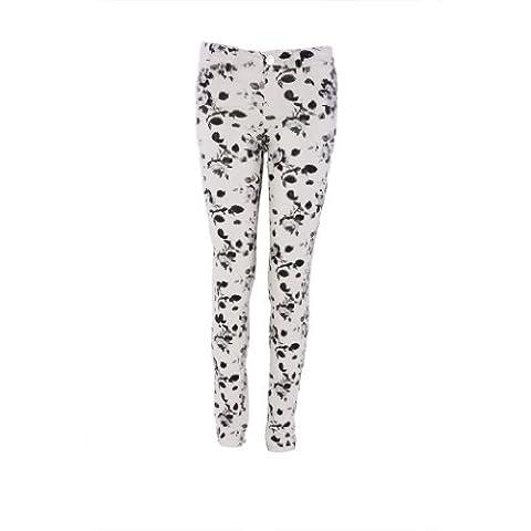 Pinc Premium Big Girls' Metallic Floral Jean 14 White Floral (Pinc Premium Toddler)