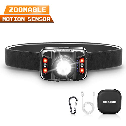 SGODDE Rechargeable Headlamp, 2019 New Motion Sensor LED Headlamp Flashlight(Zoomable), 1800mAh 5 Modes, Hand Free USB LED Head Torch Red Light for Night Fishing, Camping, Hiking, Outdoors
