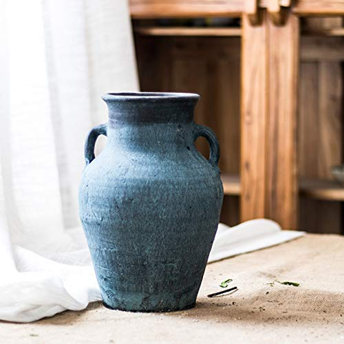 Restore Ancient Ways Nostalgic Pottery Pot Earthen Pottery Pot Vase Coarse Pottery Pot Jar Hotel Living Room Floor Combination Furnishings (2) (Pottery Clay Vases)