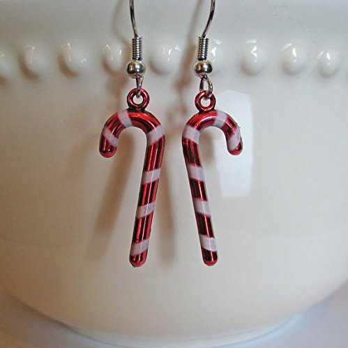 Candy Cane Earrings - Christmas Earrings - Food Jewelry