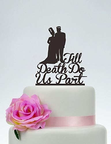 KISKISTONITE Cake Decorating Supplies, Wedding Cake Topper,Till Death Do Us Part,Personalized Cake Topper,Frankenstein Cake Topper, Bride and Groom, Halloween Wedding Topper,Party Favors ()