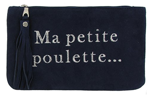 Bolsa de Gamuza Bordada Ma Petite Poulette Color Azul Marino