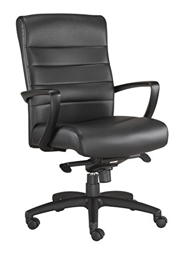 Manchester Leather Office Chair - Eurotech Seating Manchester LE255-BLKL Mid Back Leather Chair, Black