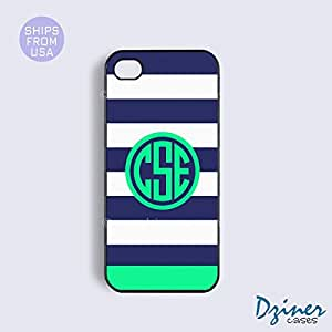 Monogram iPhone 5 5s Case - Blue White Stripes Green Circle iPhone Cover by icecream design