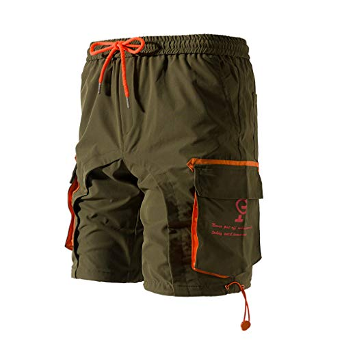 (Outdoor Clothes Simayixx Men's Casual Pure Color Pockets Beach Shorts Trouser Cargo Short Pants Hiking Shorts Army Green)