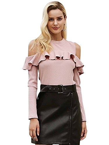 Simplee Women's Autumn Cold Shoulder Long Sleeve Ruffle Sweater Tops Pullover ()