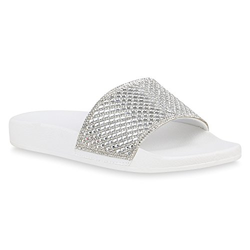 Stiefelparadies Damen Schuhe Sandaletten Pantoletten Badelatschen Strass Hausschuhe Flandell Weiss Autol