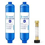RV Water Filter with Flexible Hose Protector, 2 Pack RV Inline Water Hose Filter Reduce Odors, Bad Taste, Sediment and Chlorine Camper Accessories for Trailer RVs, Drinking Water, Garden, Boats