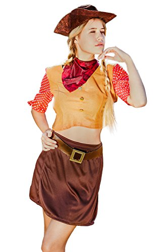 Adult Women Cowgirl Halloween Costume Miss Sure Shot Dress Up & Role Play (One Size - Fits All, brown, orange, (Wild West Saloon Girl Costume)