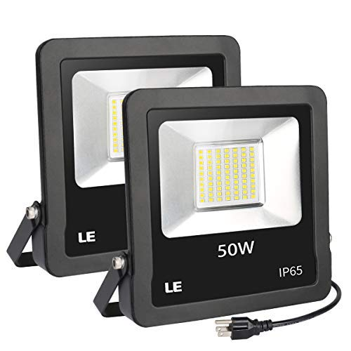 LE Outdoor LED Flood Lights, IP65 Waterproof, 50W 4000LM, Daylight White 5000K, 110 Degree Beam Angle, Plug in Security Floodlights for Home, Backyard, Patio, Garden, Tree and More, Pack of 2 [並行輸入品] B07R8PW8XM