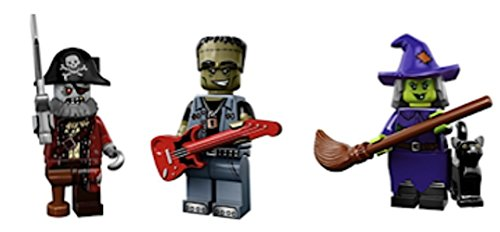 Monster Rocker, Zombie Pirate Captain, Witch : Lego Collectible Minifigures Series 14 Monsters, Zombies, Halloween Custom Bundle 71010 -