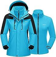 NASBING Women's Ski Jacket 3 in 1 Jacket Snow Coat Winter Warm Fleece Windproof Hooded Jacket for Mountain