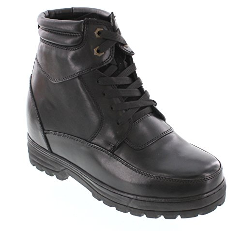 CALDEN - K881801 - 5.2 Inches Taller - Size 11 D US - Height Increasing Elevator Shoes (Black Motorcycle Boots)