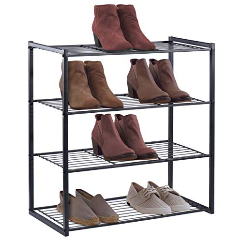 (HOUSE DAY 4 Tier Shoe Rack Organizer Entryway Shoe Storage, Black Shoe Rack with Premium Metal, Space-Saving Design, Easy to Assemble, 25 Inch Perfect Size, Sturdy & Elegant for Shoes Organizing)