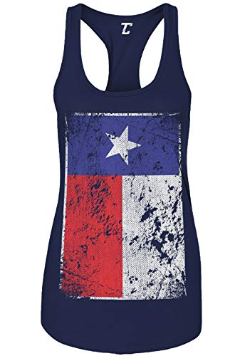 Tank Star Lone - Distressed Texas Flag - USA Lone Star State Women's Tank Top (Navy, Large)