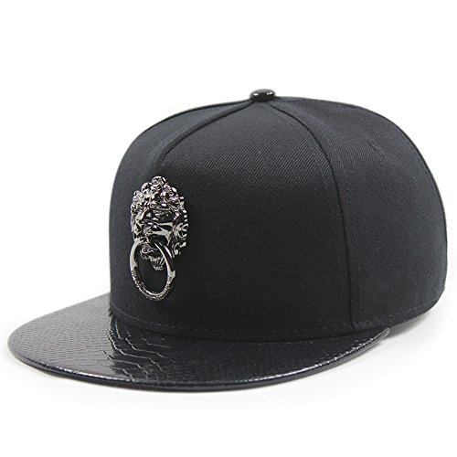 Animal Lion Head Embroidered Adjustable Flat Bill Hat Black f546293d7e1