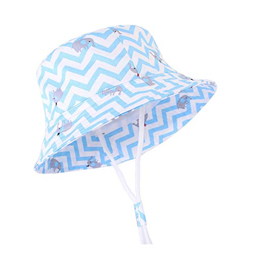 Baby Sun Hat Toddler Kids Wide Brim Sun Protection Hats Kids Beach Swimwear Bucket Cap (Elephant-Blue, 20.5