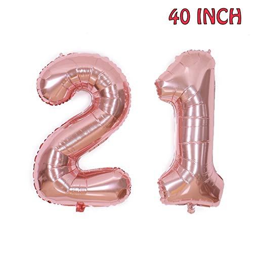 AQUEENLY 21st Birthday Balloons, 40 Inch 21 Number Birthday Decorations Party Supplies, Rose Gold - Balloon 21st Weight