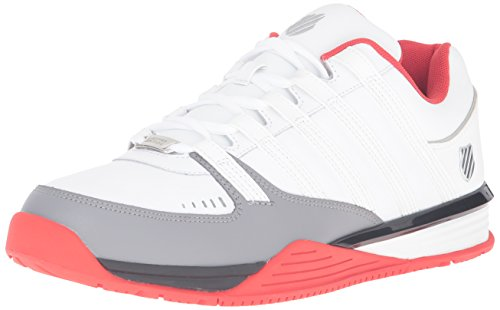 K-Swiss Men's Baxter Fashion Sneaker, White/Fiery Red/Black, 12 M US