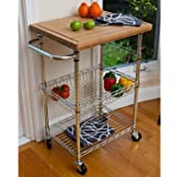 Extra Large Kitchen Island Ikkco EcoStorage Chrome Bamboo Top Kitchen Cart, Roll this chrome bamboo top kitchen cart into your kitchen and youll have a lot of extra space to store pots, pans, and more. The removable top is the perfect place to prepare breakfast or chop up your meat, as it doubles as a cutting board