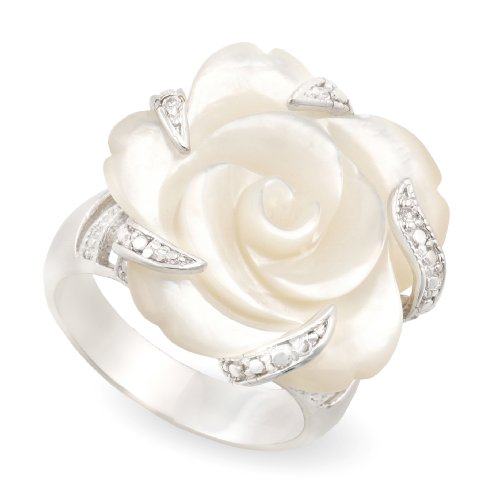 JanKuo Jewelry Carved Mother of Pearl Flower with CZ Cocktail Ring with Gift Box. (9)